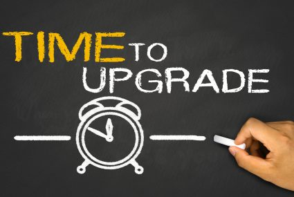 time to upgrade concept on blackboard background